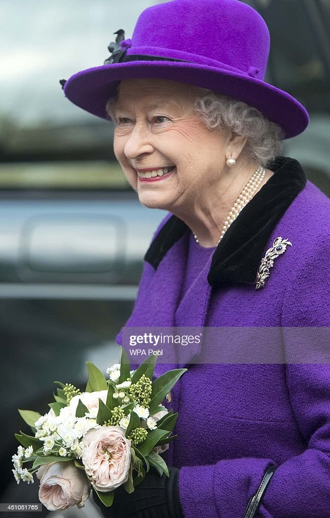 Queen Elizabeth II visits Southwark Cathedral on November 21, 2013 in London, England. Queen Elizbabeth II is visiting the Cathedral to view a new stained glass window that was created by Leifur Breidfjord to mark the Diamond Jubilee and to meet members of the Guild of Broderers who are making a new set of Jubilee Copes to be worn by the 4 Bishops of Diocese.