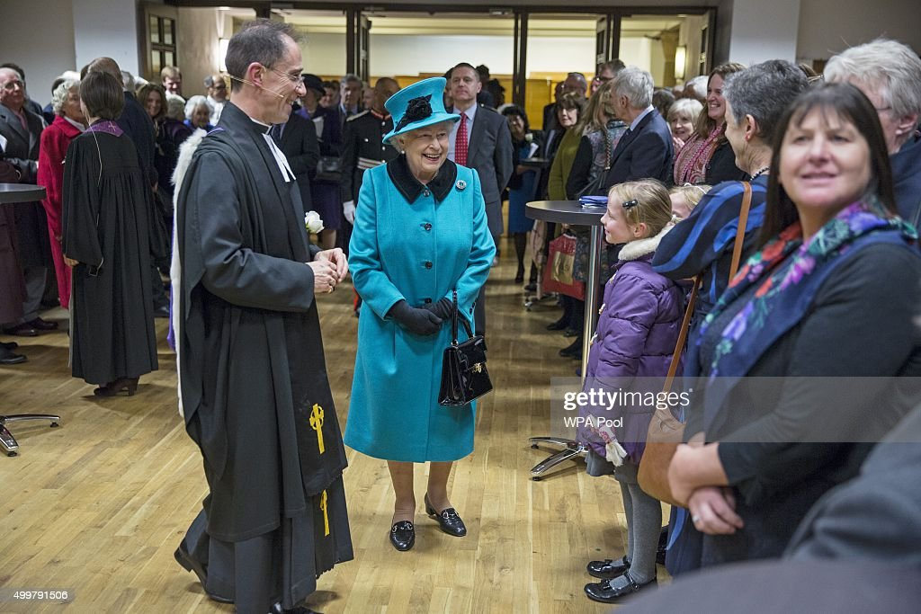 Queen Elizabeth II visits St Columba's Church in Knightsbridge to attend a Service of Thanks giving and Reception to celebrate the Sixtieth anniversary of the re-dedication of the church building on December 3, 2015 in London, England.