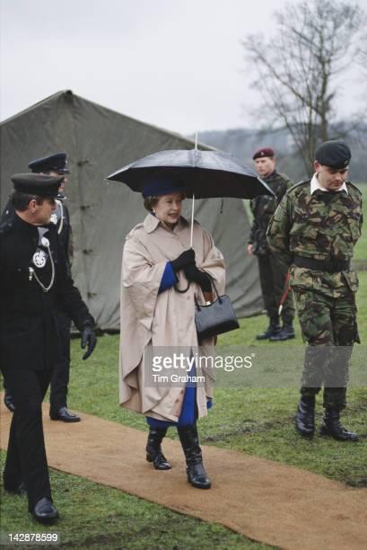 Queen Elizabeth II visits the 6th Queen Elizabeth's Own Gurkha Rifles in Church Crookham Hampshire 24th February 1989