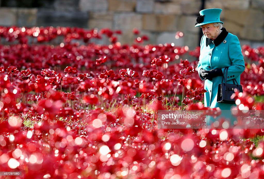 Queen <a gi-track='captionPersonalityLinkClicked' href=/galleries/search?phrase=Elizabeth+II&family=editorial&specificpeople=67226 ng-click='$event.stopPropagation()'>Elizabeth II</a> visits the Blood Swept Lands and Seas of Red evolving art installation at the Tower of London on October 16, 2014 in London, England. 888,246 poppies will be planted in the moat by volunteers with the last poppy being planted on the 11th November 2014. Each poppy represents a British or Colonial fatality in the First World War. The poppies are for sale with 10% plus all net proceeds going to six service charities.