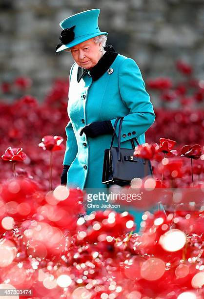 Queen Elizabeth II visits the Blood Swept Lands and Seas of Red evolving art installation at the Tower of London on October 16 2014 in London England...