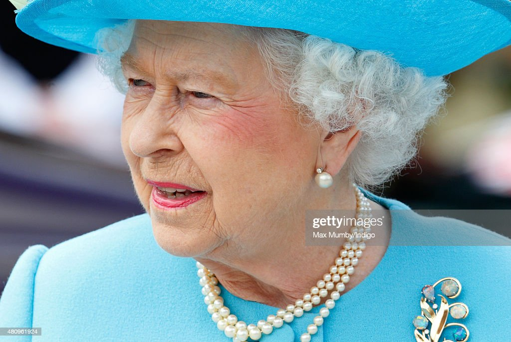 Queen Elizabeth II visits the Broadway Theatre during a day of engagements in the London Borough of Barking and Dagenham on July 16 2015 in Barking...