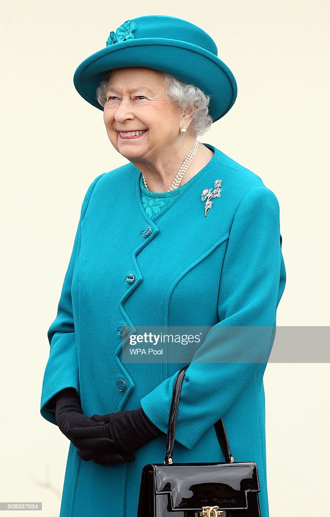 Queen Elizabeth II visits The Norfolk Hospice at Hillington on February 4, 2016 near King's Lynn, England. The Queen met patients, trustees, volunteers and medical professionals working at the hospice, which has been serving its local community close to her Sandringham Estate for over 30 years.