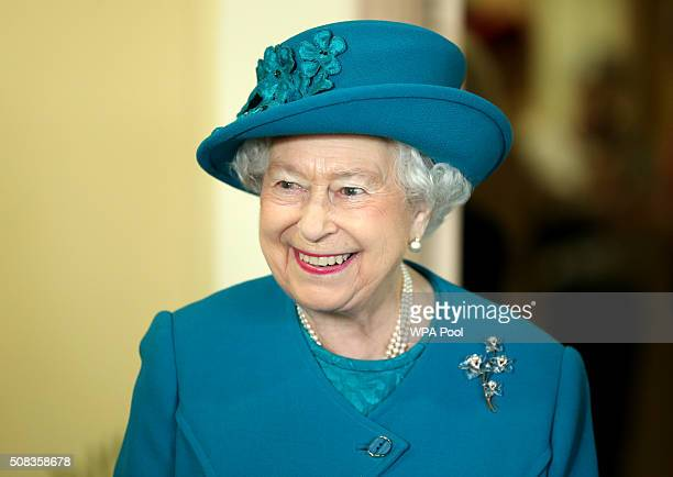 Queen Elizabeth II visits The Norfolk Hospice at Hillington on February 4 2016 near King's Lynn England The Queen met patients trustees volunteers...