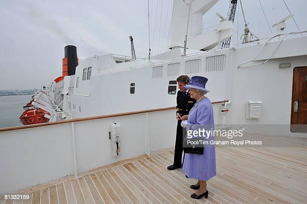 Queen Elizabeth II visits the QE2 ocean liner in Southampton dock on June 2 2008 in Southampton England
