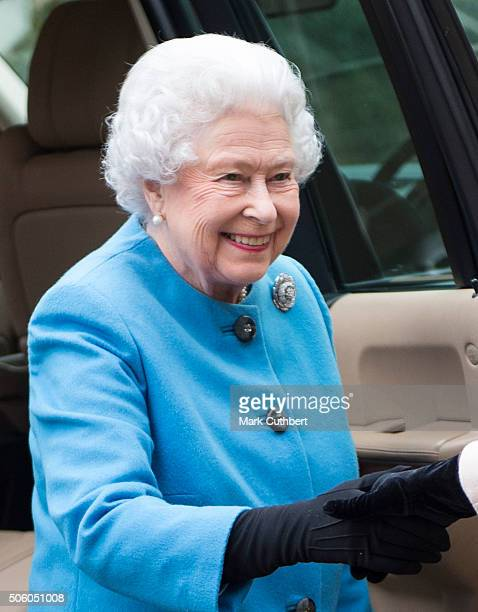 Queen Elizabeth II visits the Womans Institute at West Newton Village Hall on January 21 2016 in King's Lynn England