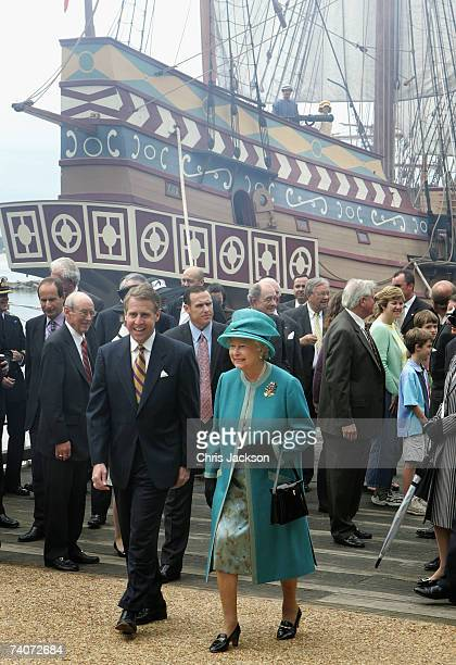 Queen Elizabeth II walks near the replica of the Susan Constant as she tours Jamestown settelment on May 4 2007 in Williamsburg Virginia This is the...