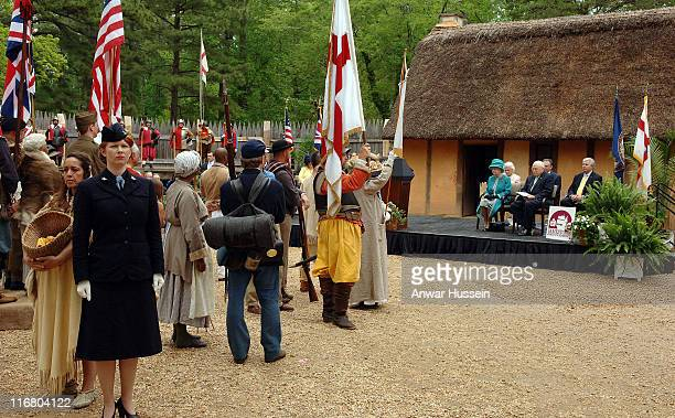 Queen Elizabeth II watches a performance at Jamestown Settlement in Virginia with US VicePresident Dick Cheyney on May 4 2007 This is the second day...