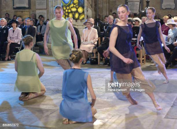 Queen Elizabeth II watches a performance by Devon Youth Dance in Exeter Cathedral during her Golden Jubilee visit to the city