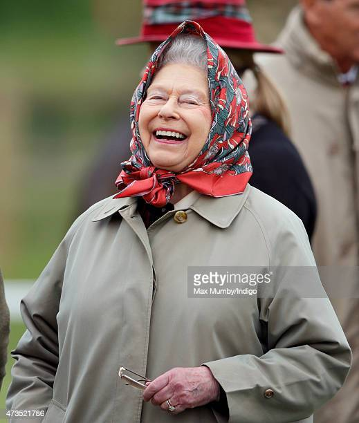 Queen Elizabeth II watches her horse 'Balmoral Fashion' compete in the Fell Class on day 3 of the Royal Windsor Horse Show in Home Park on May 15...