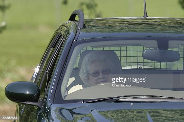 Queen Elizabeth II watches Lady Penny Brabourne compete in the Land Rover International Driving Grand Prix on May 11 2006 in Windsor England
