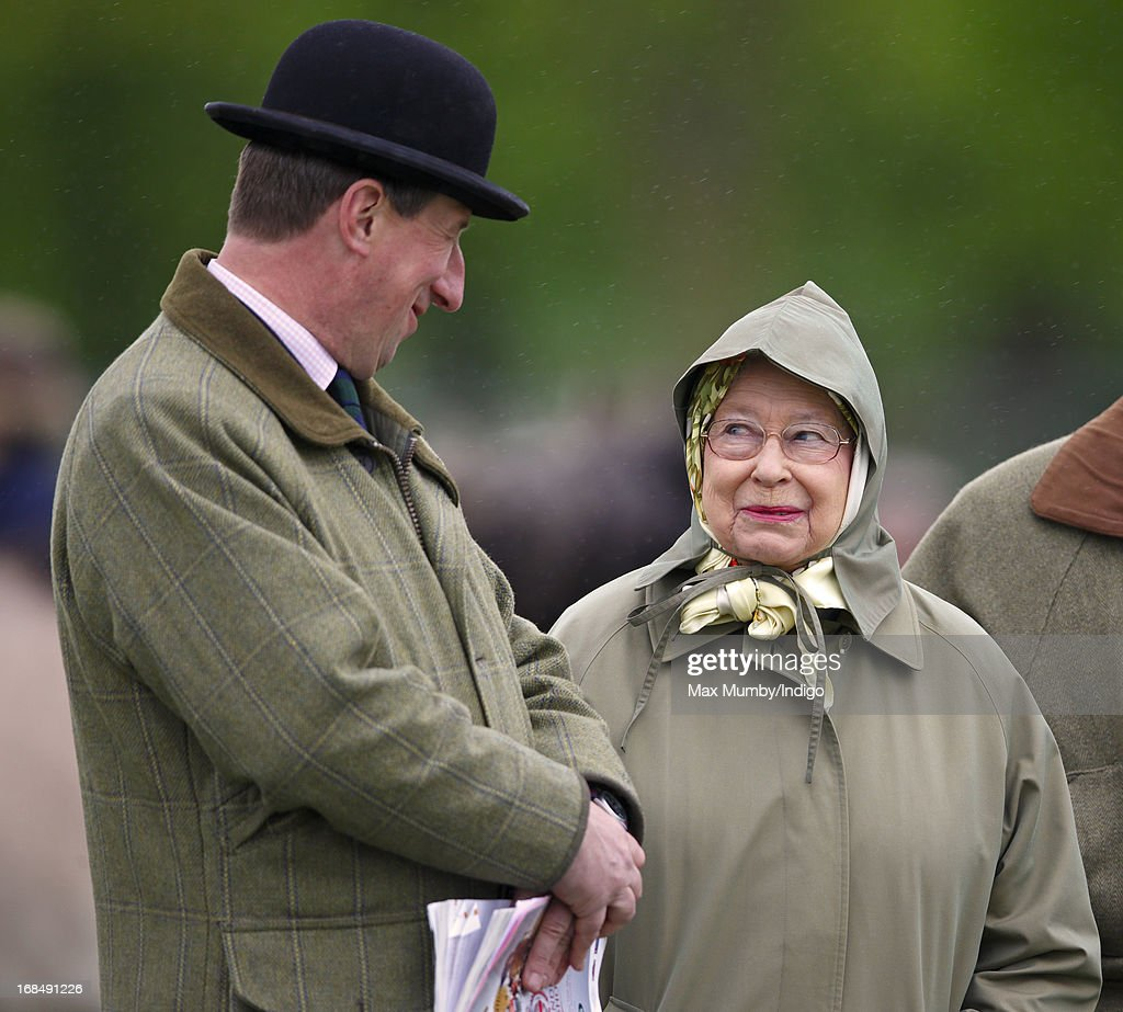 Queen Elizabeth II watches one of her horses compete in the Highland class on day 3 of the Royal Windsor Horse Show on May 10, 2013 in Windsor, England.