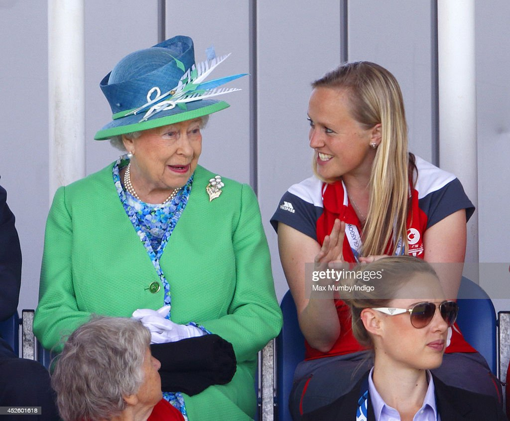 Queen Elizabeth II watches the England vs Wales women's hockey match at the Glasgow National Hockey Centre during day one of 20th Commonwealth Games on July 24, 2014 in Glasgow, Scotland.