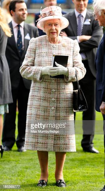 Queen Elizabeth II watches the horses in the parade ring as she attends the QIPCO British Champions Day at Ascot Racecourse on October 19 2013 in...