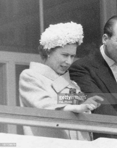 Queen Elizabeth II watching the Derby from the Royal Box Epsom Downs Racecourse Surrey 31st May 1961