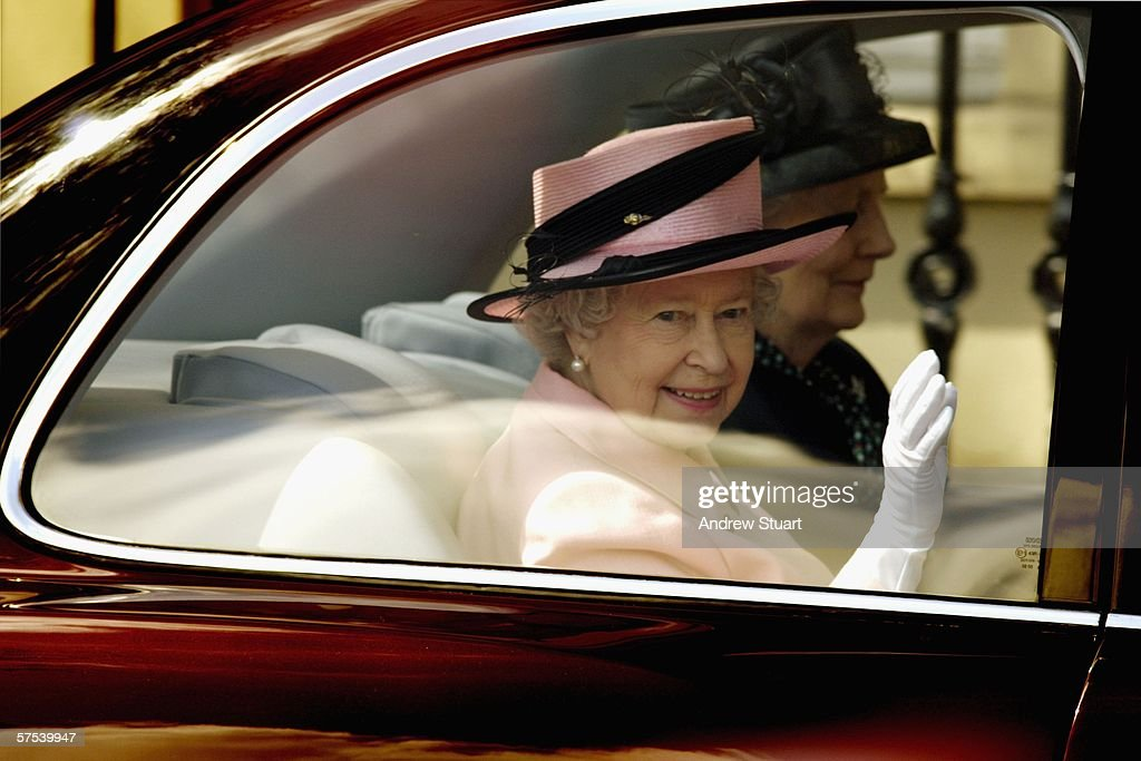 Queen Elizabeth II waves as she departs after visiting the Oxford Dictionary of National Biography during a one day visit to Oxford on May 5 2006 in...