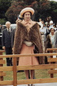 Queen Elizabeth II wearing a Maori cloak during her royal tour of New Zealand February 1977