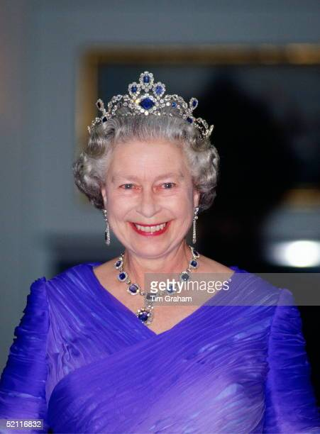 Queen Elizabeth II Wearing Formal Evening Dress For A Banquet On Board The Royal Yacht Britannia During Her Visit To France The Queen Is Wearing The...