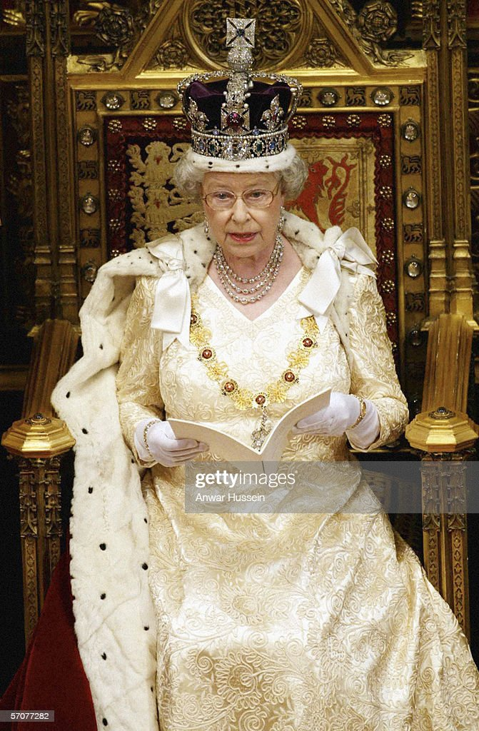 Queen Elizabeth II, wearing the Imperial Crown, delivers her annual speech at the ceremonial State Opening of Parliament in London on November 13th 2002.