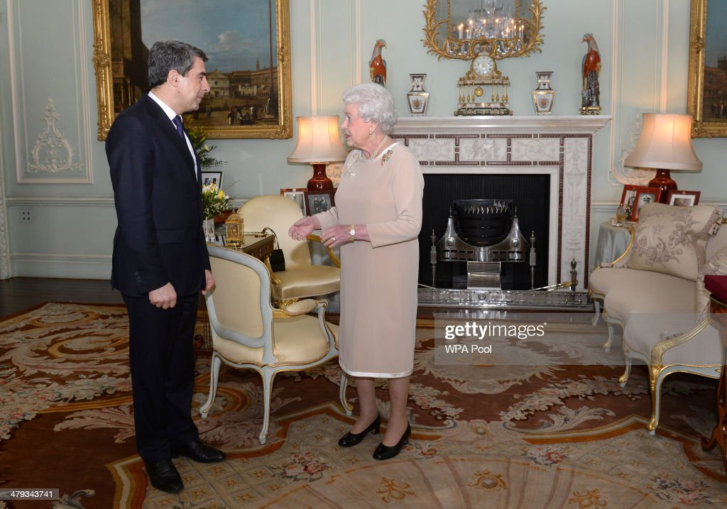 Queen <a gi-track='captionPersonalityLinkClicked' href=/galleries/search?phrase=Elizabeth+II&family=editorial&specificpeople=67226 ng-click='$event.stopPropagation()'>Elizabeth II</a> welcomes President of the Bulgarian Republic, <a gi-track='captionPersonalityLinkClicked' href=/galleries/search?phrase=Rosen+Plevneliev&family=editorial&specificpeople=6873737 ng-click='$event.stopPropagation()'>Rosen Plevneliev</a> during a private audience at Buckingham Palace on March 18, 2014 in London, England.