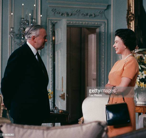 Queen Elizabeth II with British Prime Minister Harold Wilson June 1969