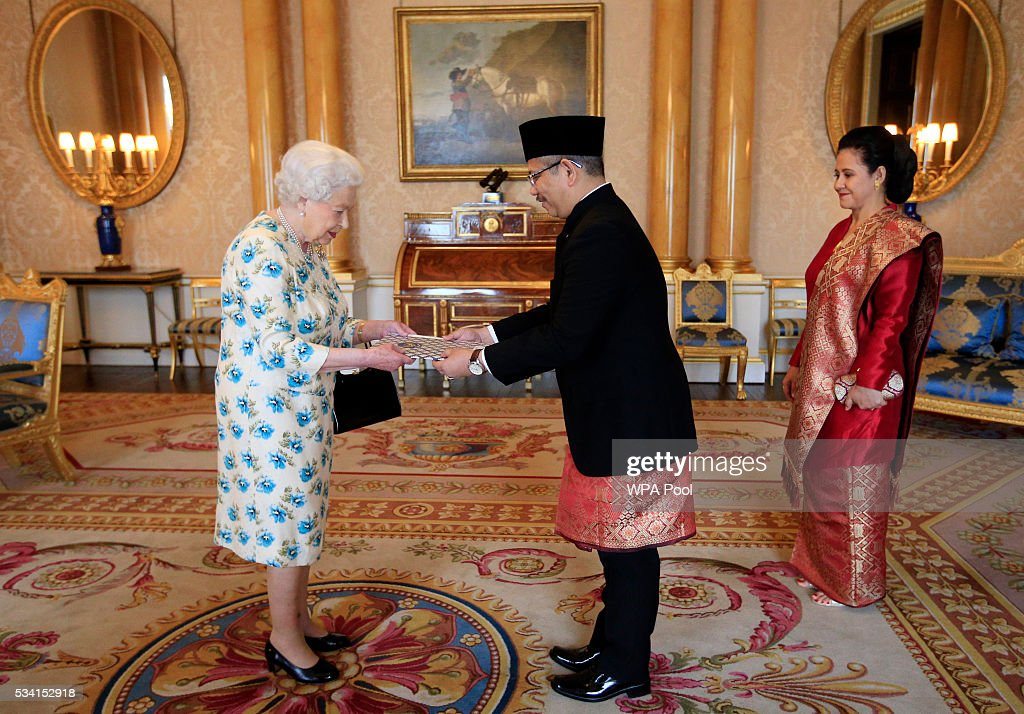 Queen Elizabeth II with Dr Rizal Sukma, the Ambassador from Indonesia, and his wife Hana Afija Satrijo as he presents his Letters of Credence during a private audience at Buckingham Palace on May 25, 2016 in London, England.