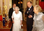 Queen Elizabeth II With French President Jacques Chirac And Madame Bernadette Chirac At A State Banquet At Windsor Castle In Celebration Of The...