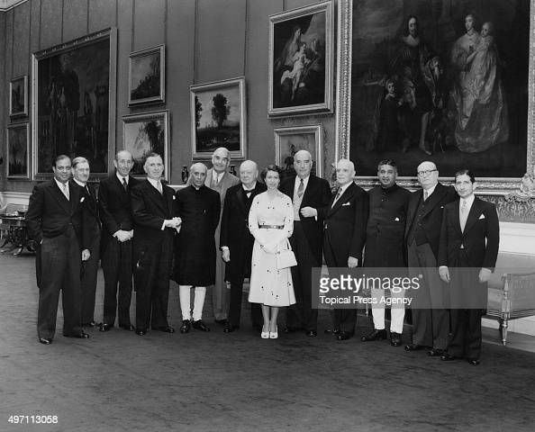 Queen Elizabeth II with her Dominion Prime Ministers and Alexander Bustamante 1st Chief Minister of Jamaica after a lunch party given by the Queen at...