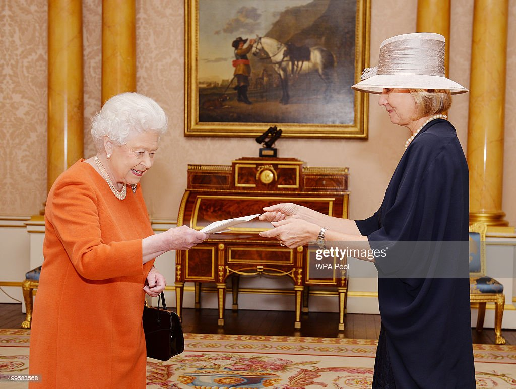 Queen Elizabeth II with Her Excellency Mrs Paivi Luostarinen the Ambassador of Finland, who was accompanied by her husband Jukka, as she presents her Letters of Credence at a private audience in Buckingham Palace on December 2, 2015 in London, England.