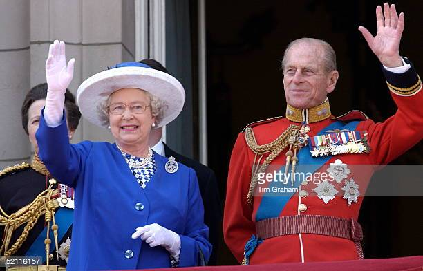 Queen Elizabeth II With Her Husband Prince Philip Colonel Grenadier Guards Waving From The Balcony Of Buckingham Palace After Trooping The Colour Her...