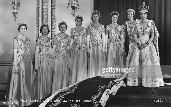 HM Queen Elizabeth II with her maids of honour Green Drawing Room Buckingham palace 2nd June 1953 In selecting six Maids of Honour instead of pages...