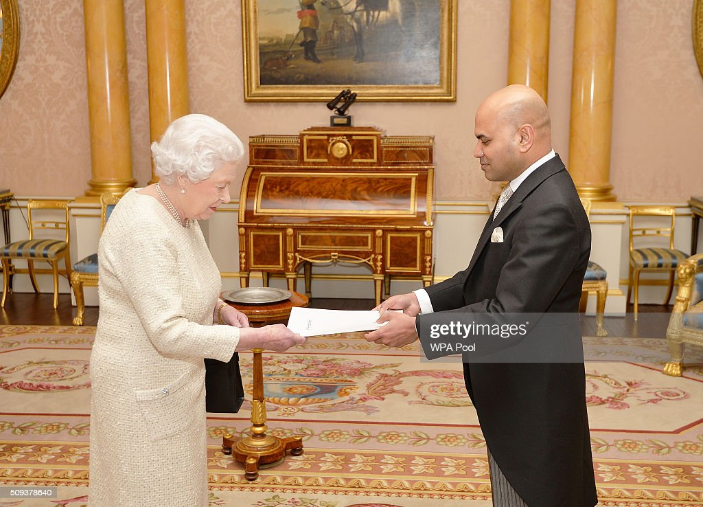 Queen Elizabeth II with His Excellency Mr Ahmed Shiaan the High Commissioner of the Republic of The Maldives, before he presented his Letters of Credence during a private audience, at Buckingham Palace in Westminster on February 10, 2016 in London, England.
