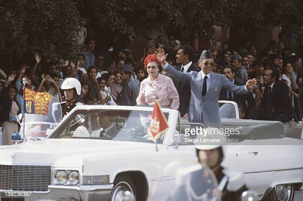 Queen Elizabeth II with King Hassan II during her state visit to Morocco October 1980