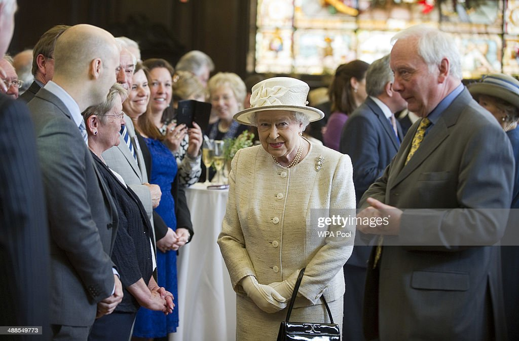 Queen <a gi-track='captionPersonalityLinkClicked' href=/galleries/search?phrase=Elizabeth+II&family=editorial&specificpeople=67226 ng-click='$event.stopPropagation()'>Elizabeth II</a> with Laurie Upshon, Chairman of the Journalists' Charity during a visit to the Journalists' Charity at the Stationers' Hall on May 7, 2014 in London, England. They were met by Lord Rothermere, President, Journalists' Charity and Mr Tom Hempenstall, Master of Stationers' Company, they also met senior media executives, journalists, industry figures and sponsors.