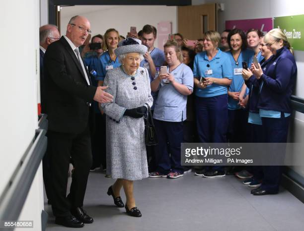 Queen Elizabeth II with NHS Grampian Reverend James Falconer Healthcare Chaplain and project lead for the Robertson Family Roof Garden during a visit...