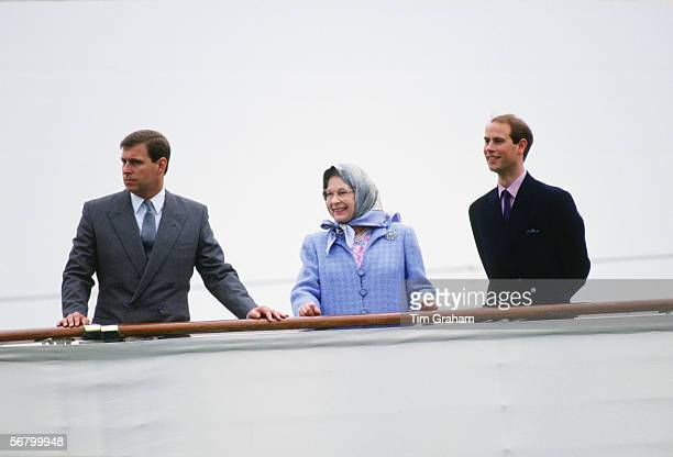 Queen Elizabeth II with Prince Andrew and Prince Edward in Portsmouth aboard the Royal Yacht Britannia at the start of their holiday cruise