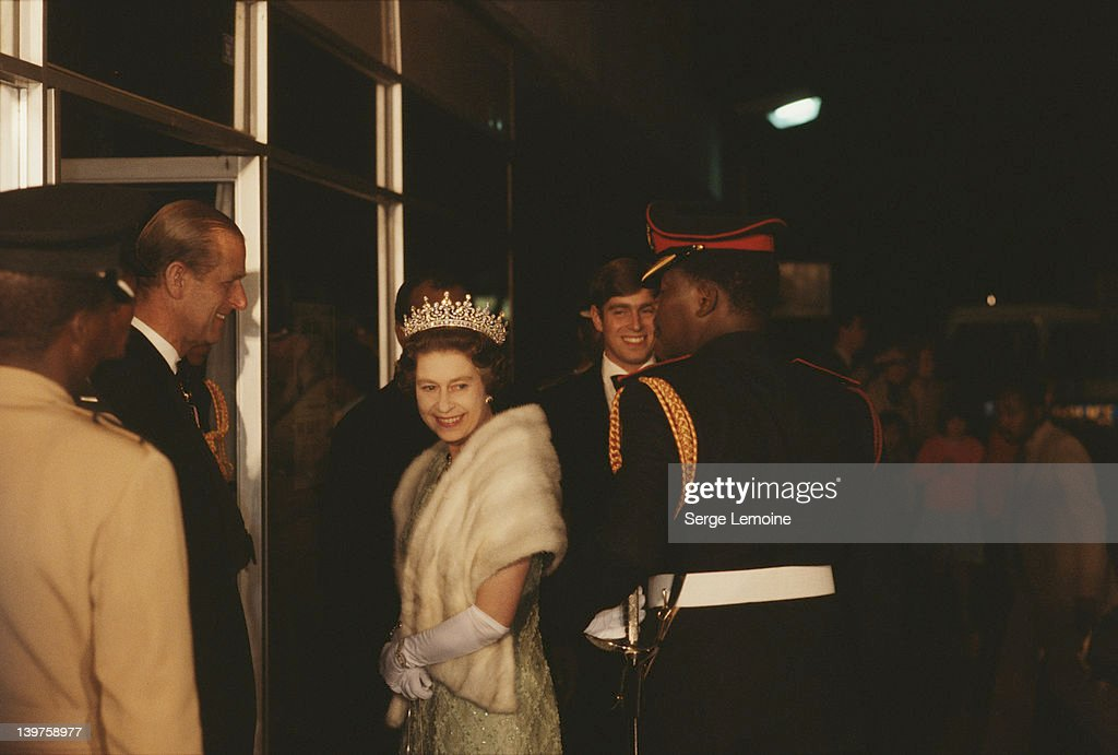 Queen <a gi-track='captionPersonalityLinkClicked' href=/galleries/search?phrase=Elizabeth+II&family=editorial&specificpeople=67226 ng-click='$event.stopPropagation()'>Elizabeth II</a> with <a gi-track='captionPersonalityLinkClicked' href=/galleries/search?phrase=Prince+Andrew+-+Duke+of+York&family=editorial&specificpeople=160175 ng-click='$event.stopPropagation()'>Prince Andrew</a> and <a gi-track='captionPersonalityLinkClicked' href=/galleries/search?phrase=Prince+Philip&family=editorial&specificpeople=92394 ng-click='$event.stopPropagation()'>Prince Philip</a> during their state visit to Botswana, July 1979.