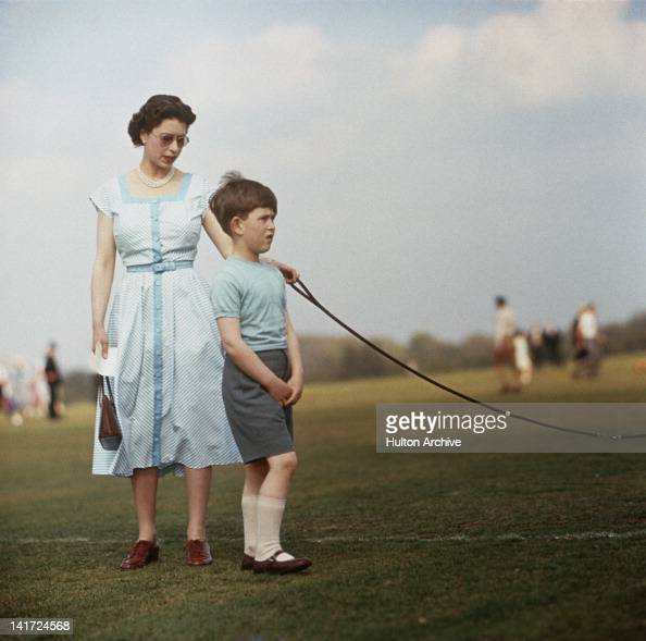 Queen Elizabeth II with Prince Charles at Windsor Great Park during a polo match 1956