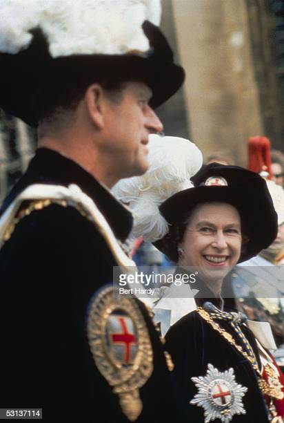 Queen Elizabeth II with Prince Philip Duke of Edinburgh at a garter ceremony at Windsor Castle 1957 Picture Post 9001 Garter Ceremony 1957 unpub
