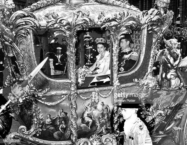 Queen Elizabeth II with Prince Philip Duke of Edinburgh in the Coronation Coach en route to Westminster Abbey for Elizabeth's coronation ceremony 2nd...