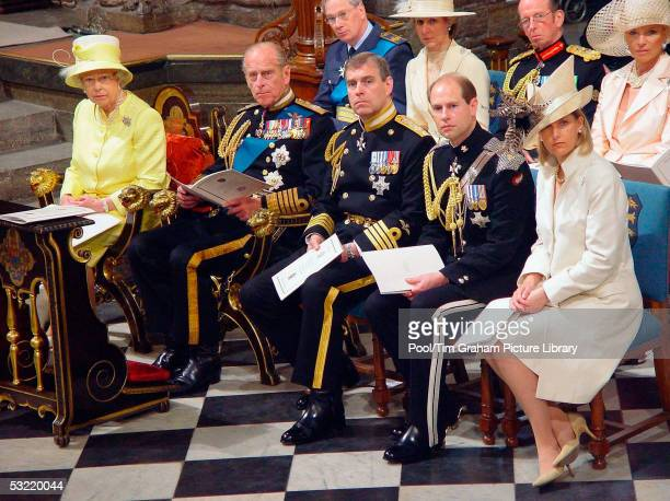 Queen Elizabeth II with Prince Philip Duke of Edinburgh Prince Andrew the Duke of York the Earl and Countess of Wessex attend the National Service of...