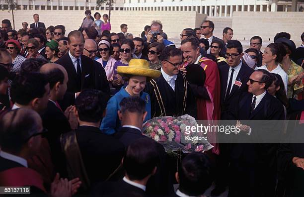 Queen Elizabeth II with Prince Philip Duke of Edinburgh visiting the Royal University of Malta at Tal Qrogg during their tour of Malta 1967