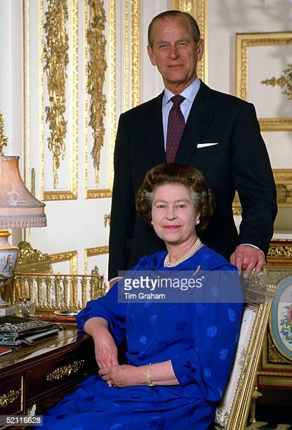 Queen Elizabeth II With Prince Philip In Their Drawing Room At Home In Windsor Castle Posing For A Photographic Session For Tim Graham The Photograph...