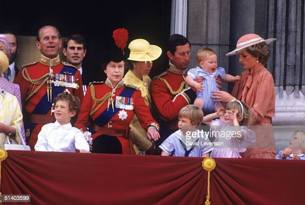 Queen Elizabeth II with Prince Phillip Lord Nicholas Windsor Prince Edward Princess Anne Prince Charles passing Prince Harry Diana Princess of Wales...