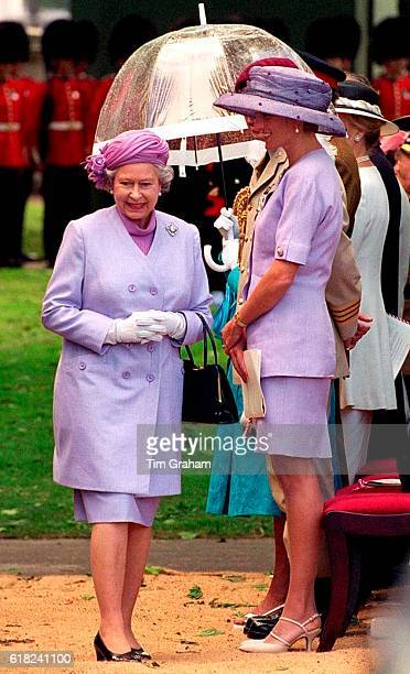 Queen Elizabeth II with Princess Diana at the unveiling of the Canada memorial monument in Green Park
