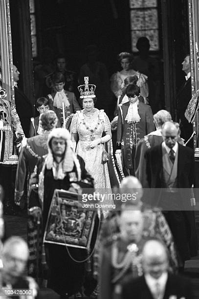 Queen Elizabeth II with Princess Diana walks through the Palace of Westminster during the State Opening of Parliament on November 06 1984