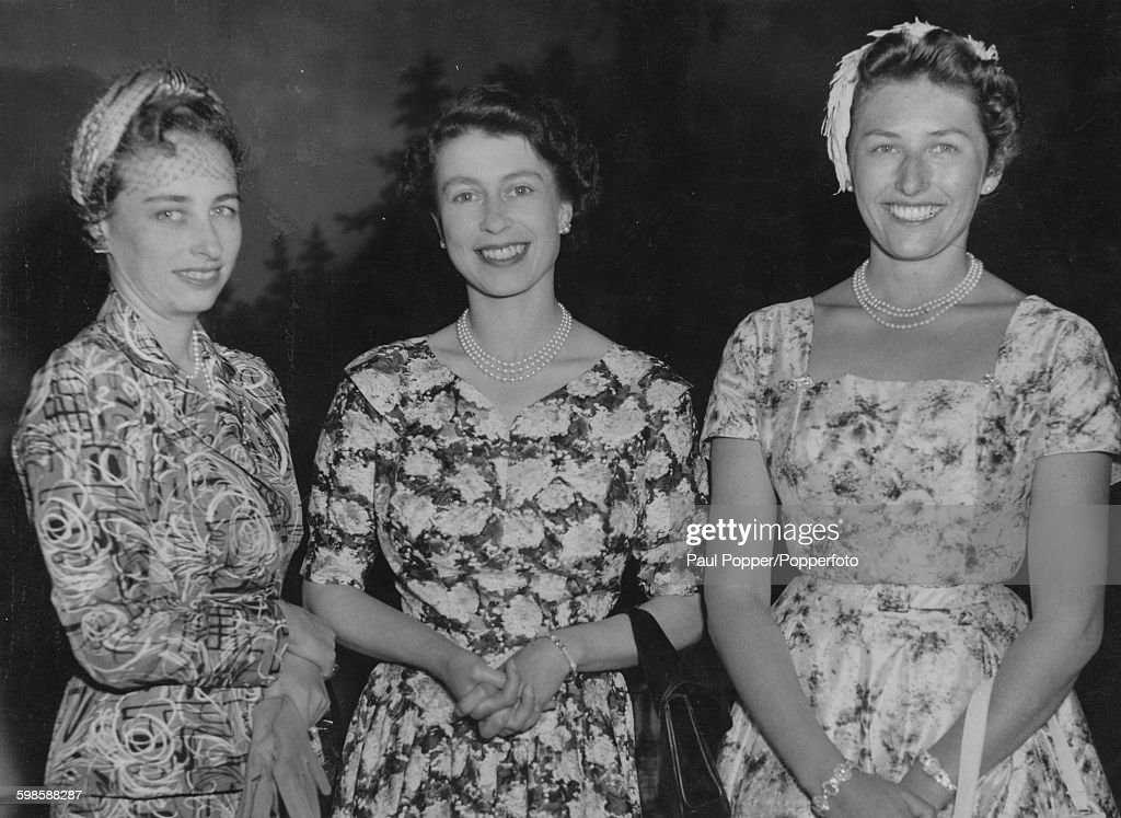 Queen Elizabeth II with Princess Ragnhild Mrs Lorentzen and Princess Astrid Mrs Ferner at the Royal Palace in Oslo Norway June 1955