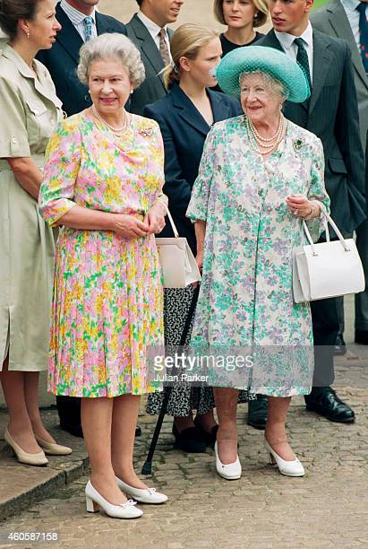 Queen Elizabeth II with Queen Elizabeth The Queen Mother at Clarence House to Celebrate The Queen Mother's 94th Birthday on August 4 1994 in London...