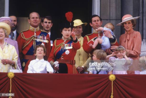 Queen Elizabeth II with Queen Elizabeth the Queen Mother Prince Michael of Kent Prince Phillip Lord Nicholas Windsor Prince Edward Princess Anne...