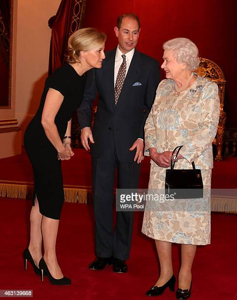 Queen Elizabeth II with Sophie Countess of Wessex and Prince Edward Earl of Wessex during her reception to celebrate the patronages affiliations of...